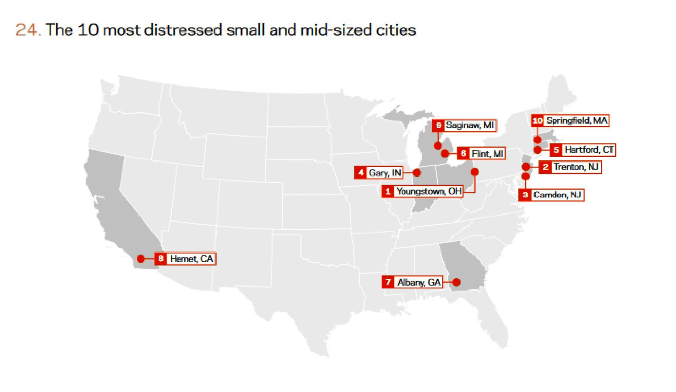 in hartford ct newark nj stockton ca and trenton nj more than one in five residents are now foreign born in general cities with smaller